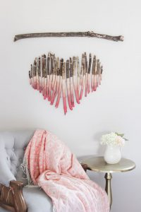 Ombre driftwood hanging, Valentine's Day decor, House Beautiful