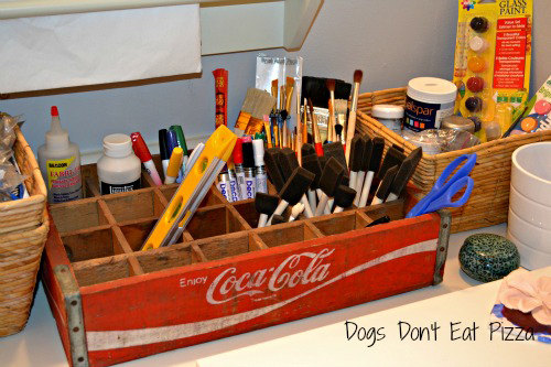 coke crate, organization, organize crafts, spring cleaning