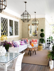 Traditional Home, Outdoor Decor, Outdoor Living, Lighting, Bright Colors, Summer, Design & Style