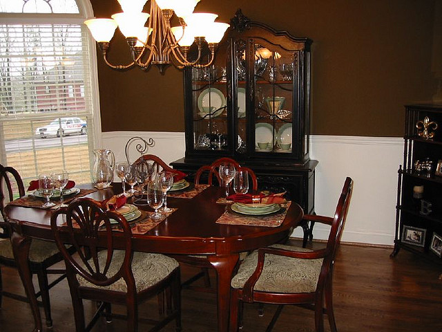 formal dining room, Traditional design, French Provincial, traditional furniture, vintage china cabinet