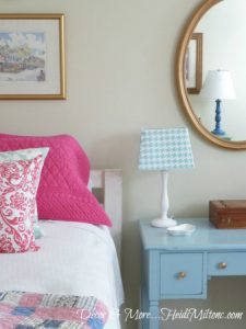 refurbished dresser, thrift store finds, white linens, bedroom refresh, re-positioned artwork