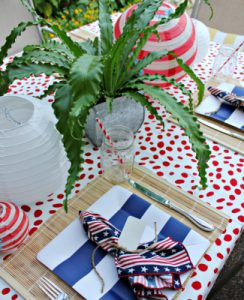 star-spangled banner, Flag Day, seasonal decor, Red, White, Blue, Patriotic Flair, Tablescaping, Center Piece