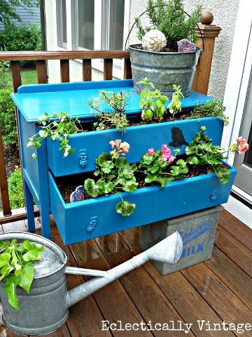 Upcycling balcony garden.Upcycle decore, recycle decor, repurpose, thrift store finds, furniture makeover, upcycle old dresser, vintage furniture
