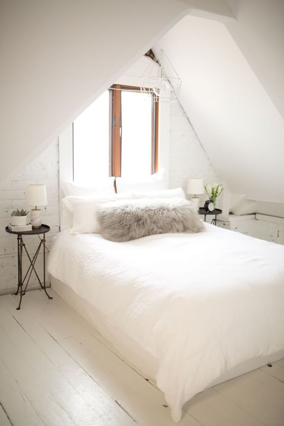 All-White Bedroom with painted floors