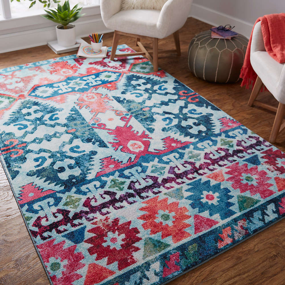Aztec Trip Rug in Aqua from the Prismatic Collection