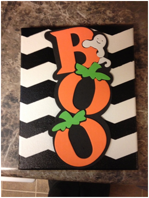 Boo-FrogTape-8FrogTape, DIY Wall Art, Halloween art, how-to, tutorial, chevron,