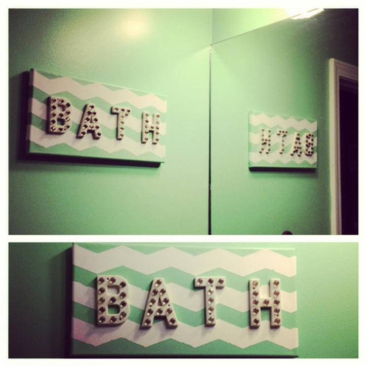 FrogTape, DIY Wall Art, Bathroom makeover, how-to, tutorial, chevron, bathroom art
