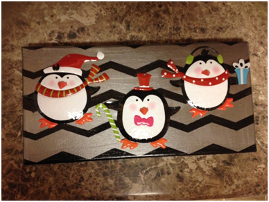 FrogTape, DIY Wall Art, makeover, how-to, tutorial, chevron art, holiday penguins