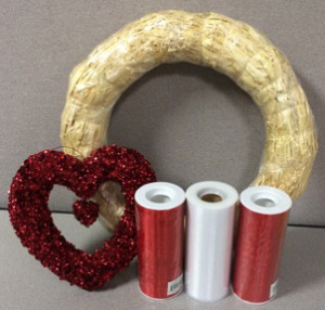 Supplies needed for DIY Tulle Valentine's Day Wreath