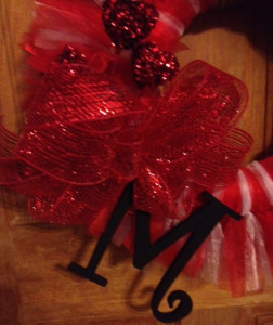 Detail shot of DIY Tulle Valentine's Day Wreath