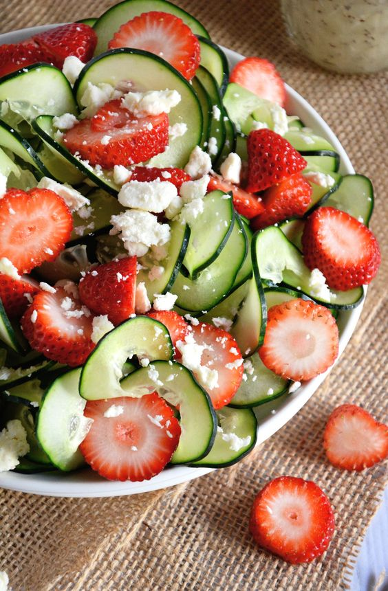 Easter Brunch Recipe Ideas- Mohawk Homescapes- Cucumber and Strawberry Poppyseed Salad