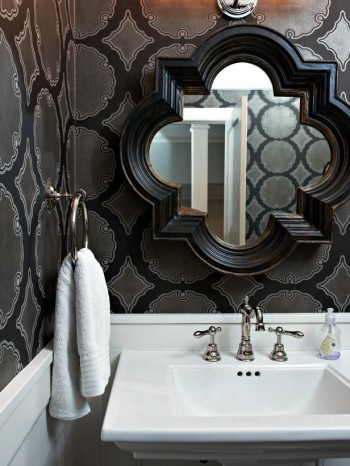 Black - White - Bathroom - Modern - MIrrors - HGTV - Mohawk Homescapes
