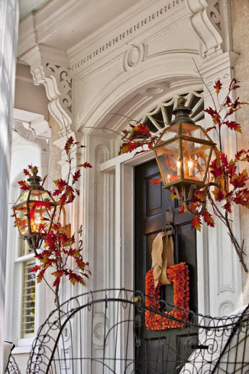 Mohawk - Homescapes - Porch - Fall - Decor - Home - Design - Front - Door - Leaves - http://antiquenehomes.blogspot.com/