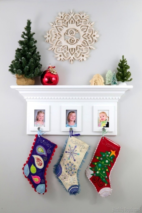 Personalize your mantleless stocking display with adorable photos of each child in your family.