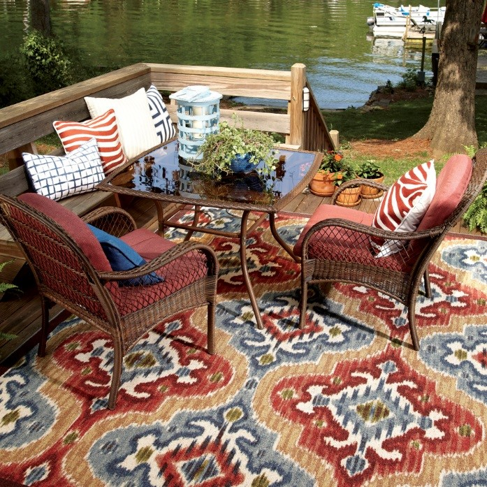 Mystic Ikat Indoor/Outdoor Rug - Mohawk Home - Gorgeous Small Patios - Small Patio Makeover - Mohawk Homescapes - Home Depot