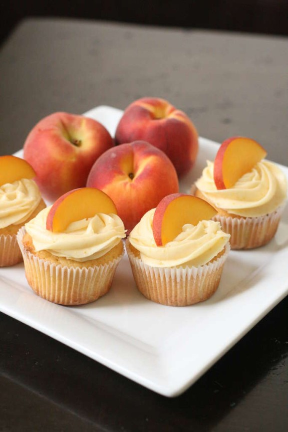 Peach flavored cupcakes make a great summer treat!