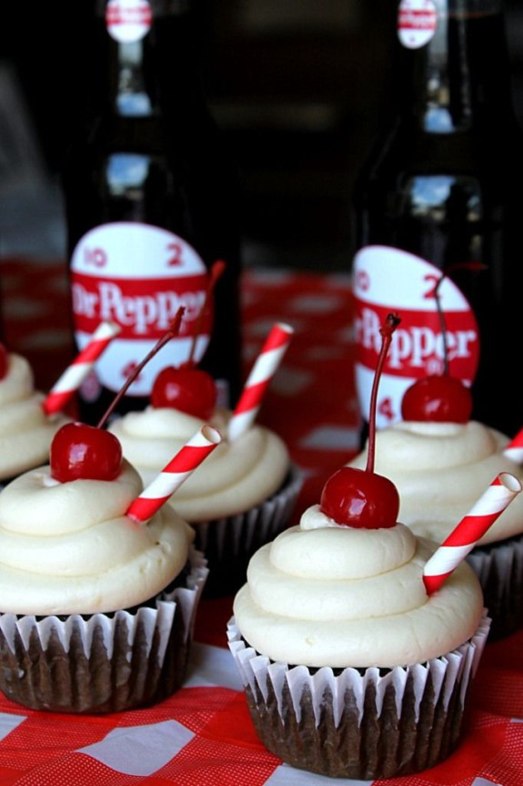 Festive chocolate Dr. Pepper cupcakes make a great summer treat!