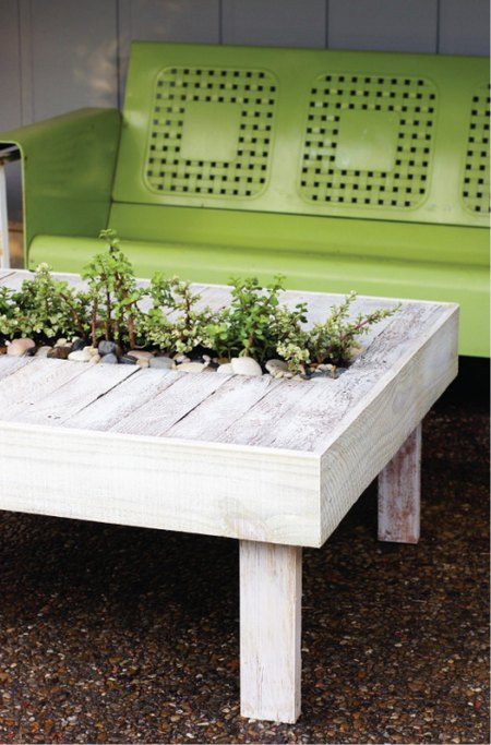 Pallet Table with Succulent Holder- Mohawk Homescapes
