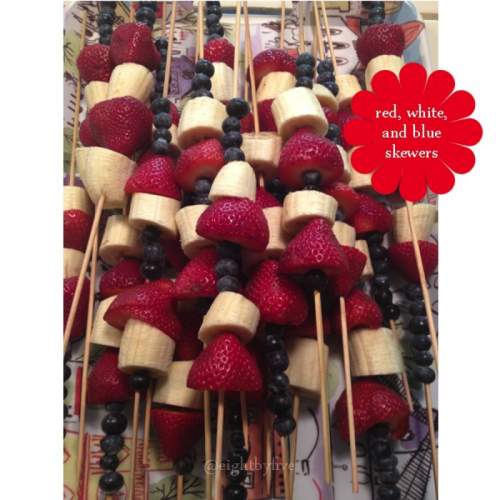Serve healthy Red, White & Blue fruit skewers.