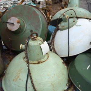 Industrial lights found at a flea market - How to get the look - industrial chic - Mohawk Homescapes