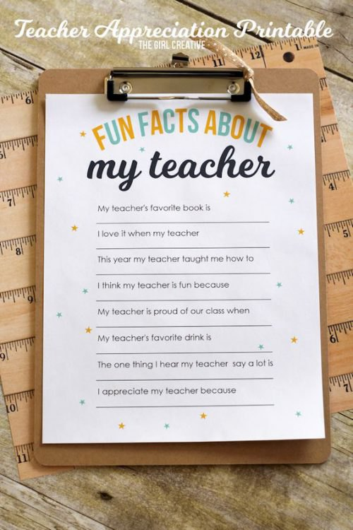 Fun facts about my teacher printable