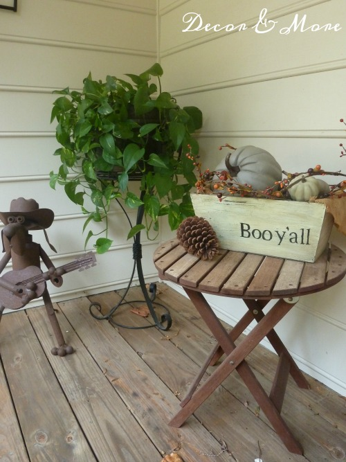 Front Porch refreshed for fall - DIY Boo planter