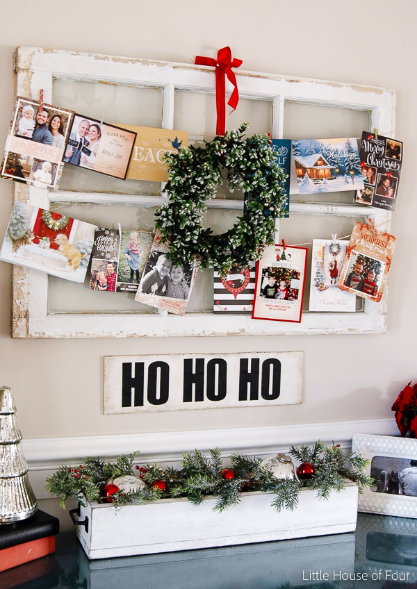 Christmas card display using repurposed window- Little House of Four