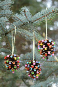 kid-friendly crafts winter break - pine cone ornaments - Mohawk Home - onelittleproject.com