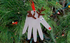 kid-friendly crafts winter break - Mohawk Home - handprint reindeer ornament - sheknows