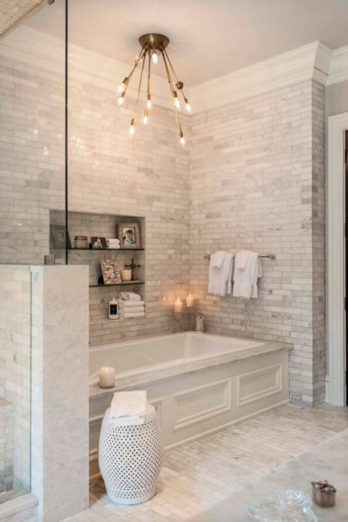 Glam Up a Tired Bathroom - Heidi Milton - ideas to add glam - statement lighting - tumblr