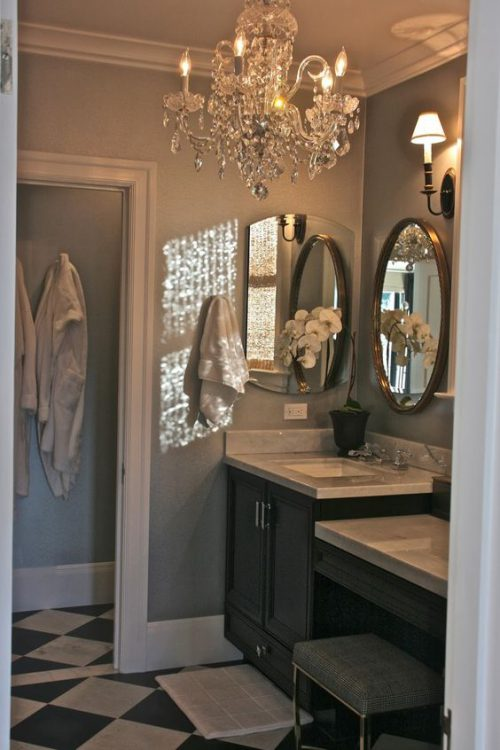 Glam Up a Tired Bathroom - Heidi Milton - ideas to add glam - statement lighting - Vignette Design