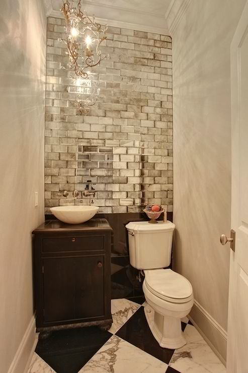 Glam up a tired bathroom - Heidi Milton - ideas to add glam - use mirrors - Tidbits and Twine
