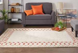 Chained Border Area rug in coral, Laguna Collection, Mohawk Home