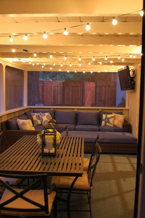Hanging Twinkle Lights in Outdoor Patio
