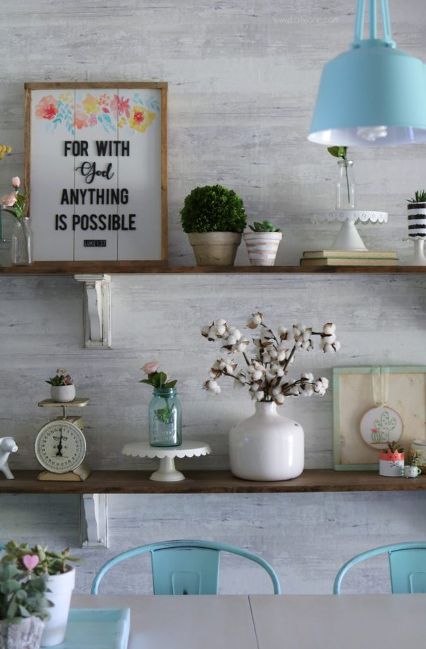 Farmhouse Dining Room Shelves from LollyJane