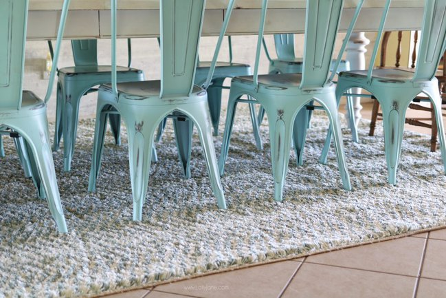 Clinton Aqua area rug in LollyJane Dining Room Makeover