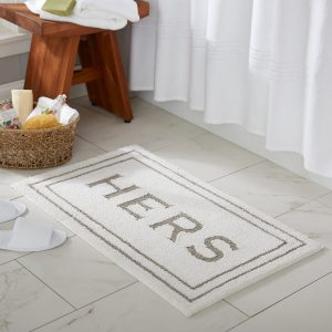 White 'Hers' Cotton Bath Mat by Mohawk Home