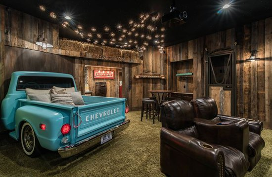 In Home Theater- Man Cave Inspiration from Mohawk Home