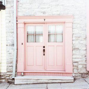 Millennial pink doorway
