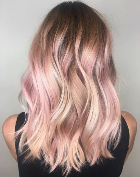 Millennial pink hair on Instagram, by American Salon.