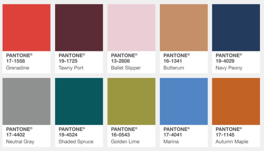 Pantone Fashion Institute's Fall 2017 Color Palette