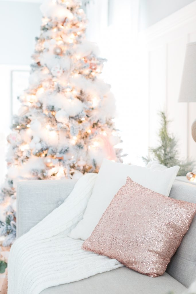 Blush accents are used in the holiday home decor of this blogger's home.
