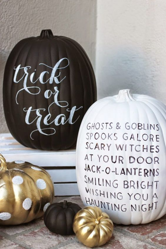Paint your Halloween pumpkins and use them as a platform to tell a spooky story or add a bewitching phrase.