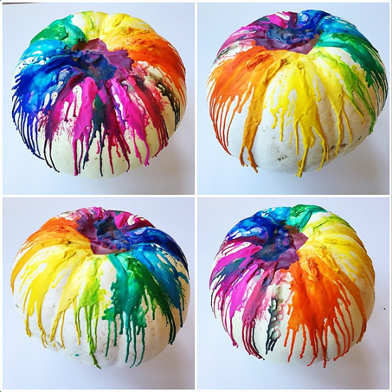 Looking for a fun DIY project for the kids this Halloween? Consider the melted crayon pumpkin for a colorful display they won't soon forget!