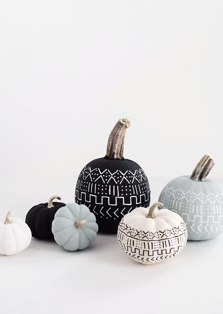 Incorporate the mudcloth craze into your pumpkin decor this fall. All it takes is a little paint!