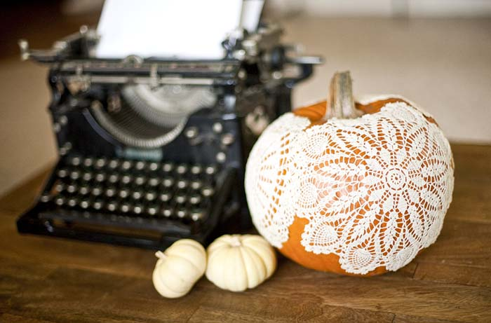Add vintage doilies to your pumpkin this fall for a look that carries over from Halloween to Thanksgiving.