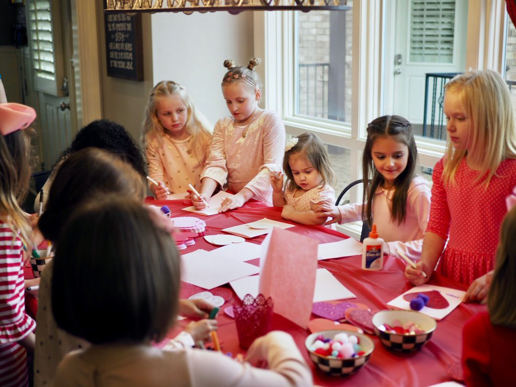 Crafting at Mother-Daughter Valentine Tea Party