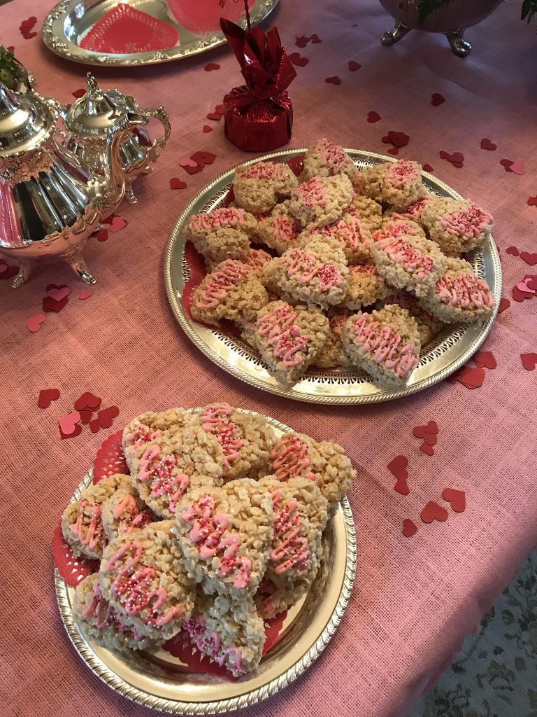 Rice Krispies Treats for Valentine's Day tea party