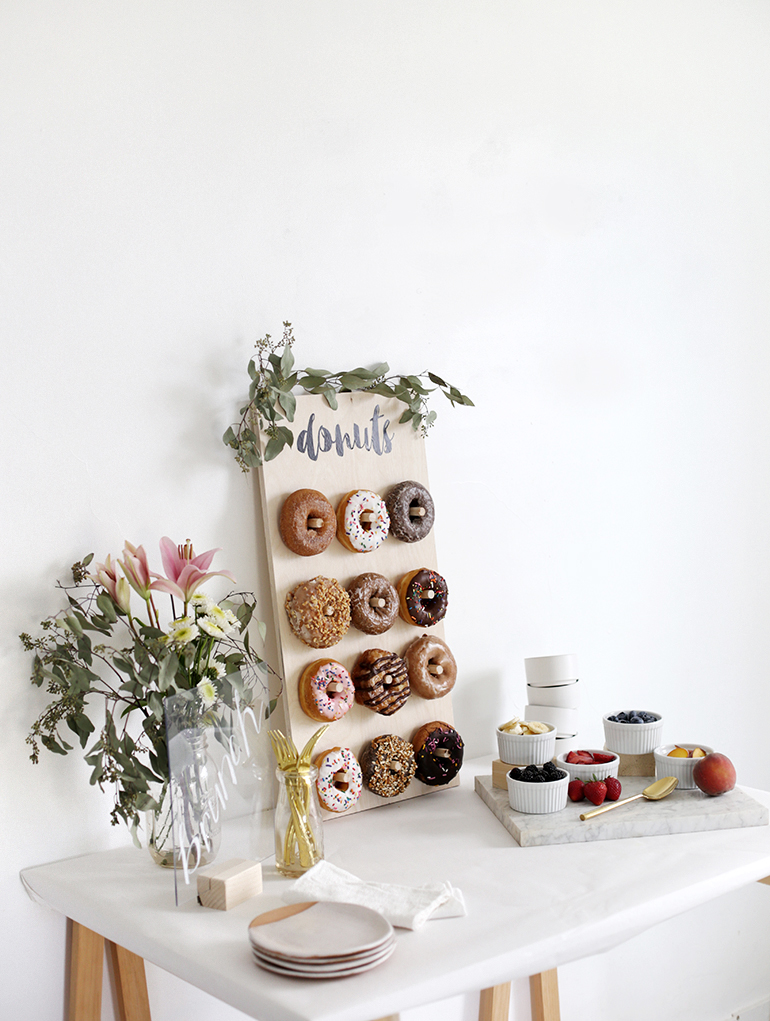 diy donut walls a popular dessert feature at weddings and bar mitzvahs we scoured pinterest to find one thats perfectly sized for a bridal shower