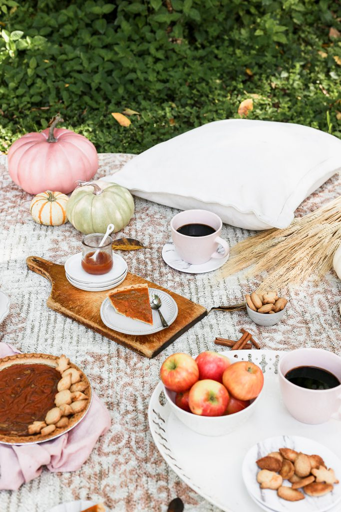 fall picnic with pumpkin pie and Mohawk Home